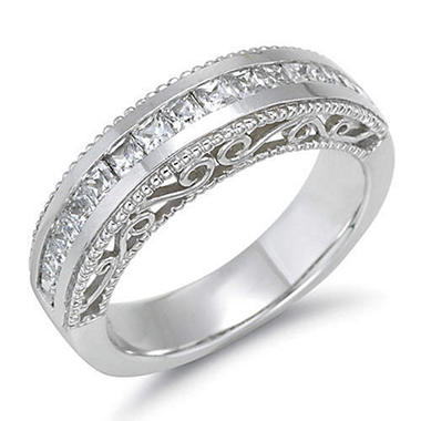 1 ct. t.w. Princess-Cut Diamond Filigree Wedding Band (H-I, SI2)
