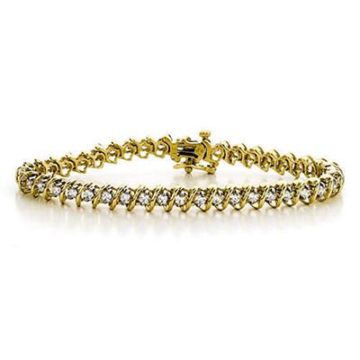 """7 ct. t.w. """"S"""" Diamond YG Bracelet (H-I, I1)"""