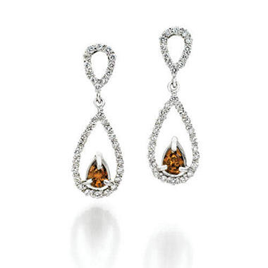 1 ct. t.w. Champagne & White Diamond Drop Earrings