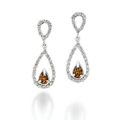 1 ct. t.w. Champagne & White Diamond Drop Earrings