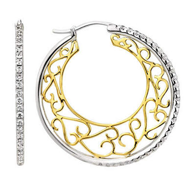 1 ct. t.w. Filigree Diamond Hoop Earrings(H-I, I1)