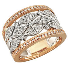 0.75 ct. t.w. Diamond Fashion Ring in 14k White & Rose Gold (H-I, I1)