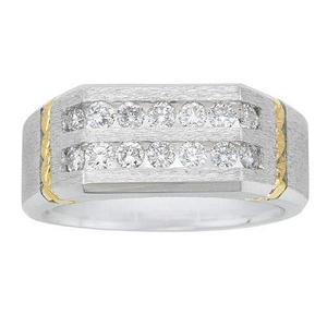 0.75 CT. T.W. Double Row Men's Ring in 14K White & Yellow Gold (H-I, I1)