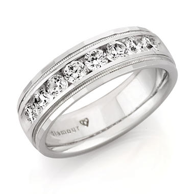 1.50 ct. t.w. Men's Round Diamond Wedding Band in 14k White Gold (H-I, SI2)