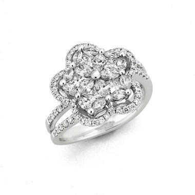 1.50 ct. t.w. Multi-Stone Diamond Ring in 14k White Gold (H-I, I1)