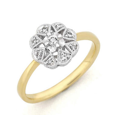0.09 ct. t.w. Diamond Flower Ring in 14k Two-Tone Gold (H-I, I1)