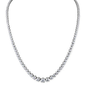 7.92 ct. t.w. Diamond Riviera Necklace in 14K White Gold (H-I, I1)