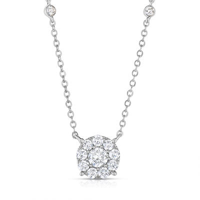 .96 CT. TW. Diamond Halo Pendant in 14K White Gold