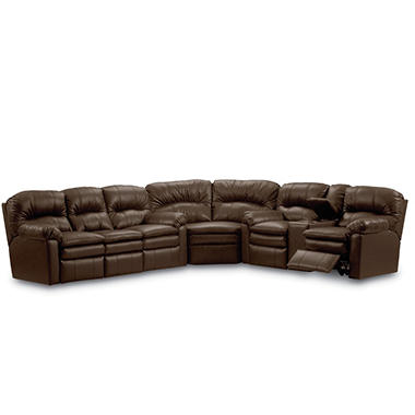 Lane furniture henry top grain leather reclining sectional for Leather sectional sofa lane