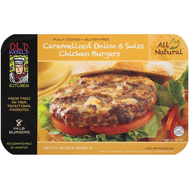 Old World Kitchen Caramelized Onion & Swiss Chicken Burgers - 8 ct.