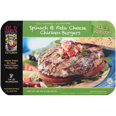 Old World Kitchen Spinach & Feta Cheese Chicken Burgers - 8 ct.