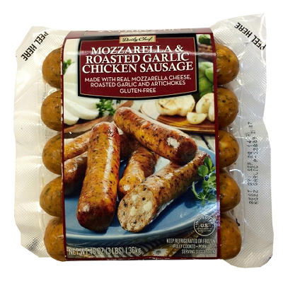 Savory Kitchen Mozzarella & Roasted Garlic Chicken Sausage - 48 oz.