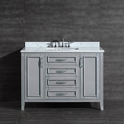 "Daniel Vanity, Gray Finish with Carrera Marble (48"")"