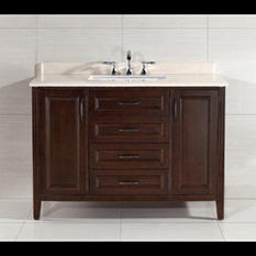 "Daniel Vanity, Cocoa Finish with Beige Marble (48"")"