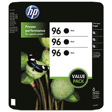 HP 96 Original Ink Cartridge, Black (3 pk., 860 Page Yield)