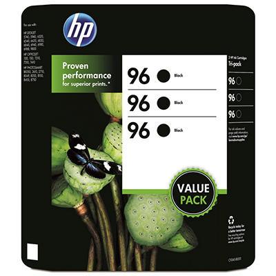HP 96 Original Ink Cartridge, Black (3 pk., 860 Page Yield)