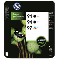 HP 94/94/97 Original Ink Cartridge, Black/Tri-Color (3 pk., 560 Page Yield)