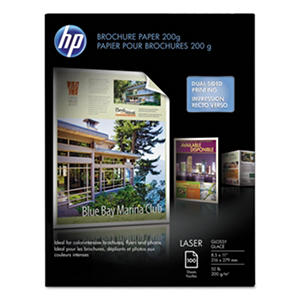 HP Laser Brochure Paper, 52 lb, Glossy, 8 1/2 x 11, 100 Sheets