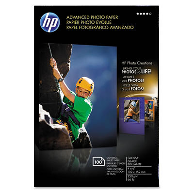 HP - Advanced Photo Paper, 56 lbs., Glossy, 4 x 6 -  100 Sheets/Pack