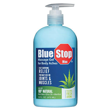 Blue Stop Max - Massage Gel - 16 fl. oz. Bottle w/Pump