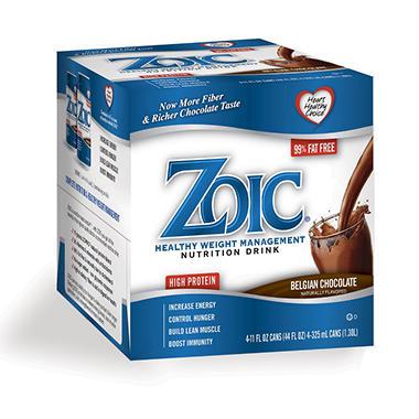 ZOIC Nutritional Drink - Belgian Chocolate - 6 Packs of 4