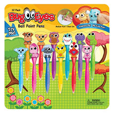 Bug Eyes Pen Set, Assorted Animals, 12 Pack