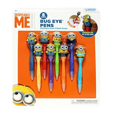 Illumination Entertainment Despicable Me Minion Bug Eye Pens, Medium Nib Ball Point, Black Ink, 8 pack