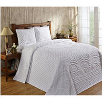 Click here for Trevor Bedspread with Shams King - White prices