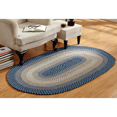 Woodbridge Wool 6' Round Blue Braided Rug