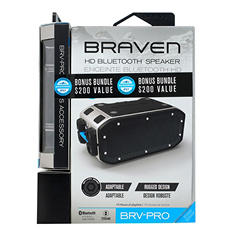 Braven BRV-Pro Portable Bluetooth Speaker and Black Solar Panel Bundle
