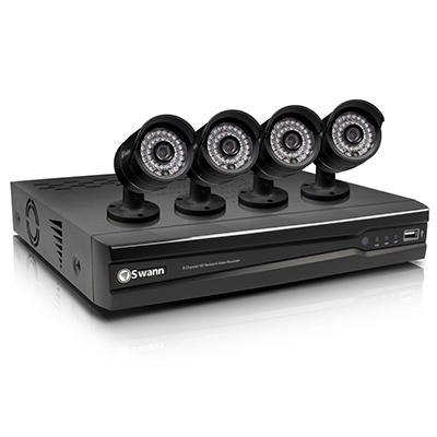Swann 8 Channel 720p HD Security System with 1TB Hard Drive, 4 High Definition Cameras, and 82' Night Vision