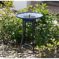Mosaic Solar Birdbath, Metal Stand & Ceramic Glazed Finish