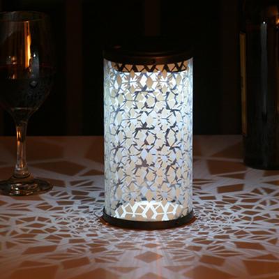 Frosted Fretwork Cylinder Solar Lantern