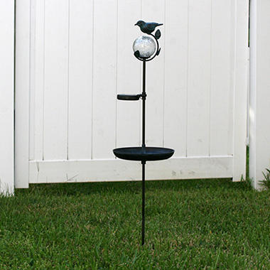 Aquarius Birdbath Solar Light Stake with Glass Orb