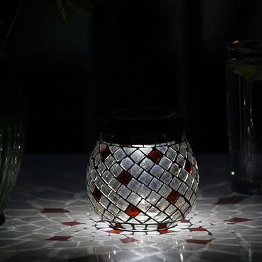 Mosaic Solar Glass Lantern - Champagne