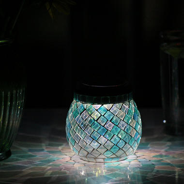 Mosaic Solar Glass Lantern - Azure