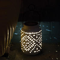 "Tangier Large Solar Ceramic Lantern -11.61"" Tall"