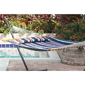 Santorini Premium Reversible Double Hammock - Navy Stripe/Solid