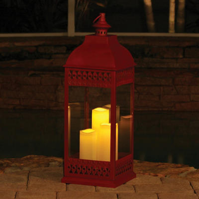 "San Nicola Triple LED Candle Lantern, Red - 28.25"" Tall"