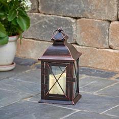 """Aversa 10"""" LED Candle Lantern - Antique Bronze"""