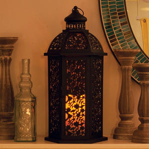 "Valencia Metal Candle Lantern in Weathered Brown Finish -19.49"" Tall"