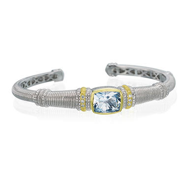 Judith Ripka 3.1 ct. Blue Quartz Center Stone Cuff Bracelet in Sterling Silver