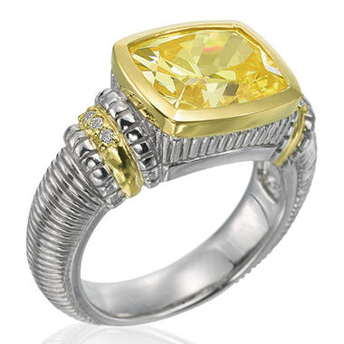 Judith Ripka Canary Crystal Cushion Stone Ring