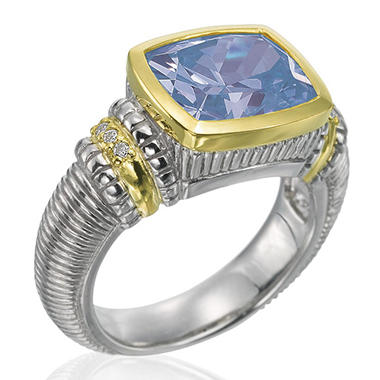 Judith Ripka Blue Quartz Cushion Stone Ring