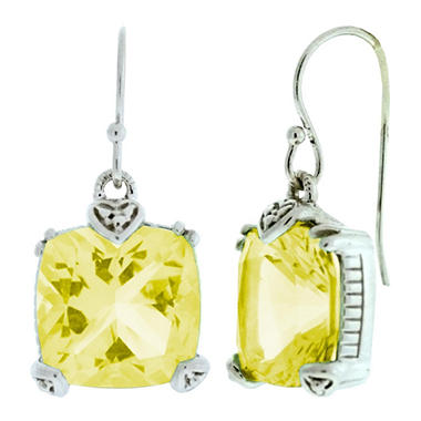 Judith Ripka Canary Crystal Cushion Cut Earrings