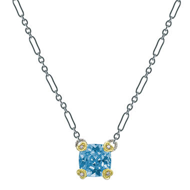 Judith Ripka Blue Quartz Cushion Stone Necklace