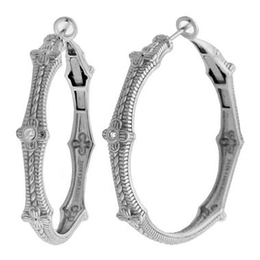 Judith Ripka Diamond and Sterling Silver Hoop Earrings