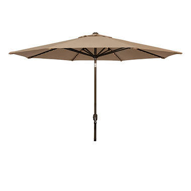 Lighted Market Umbrella - 11' - Taupe/Beige