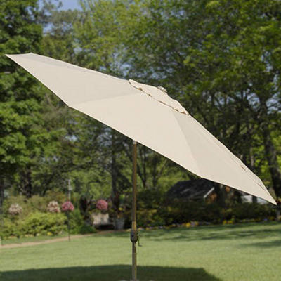 Lighted Market Umbrella - 11 ft. - Taupe