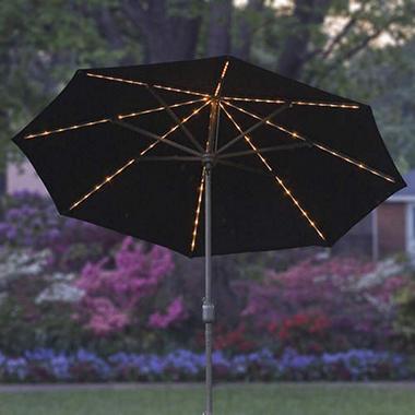 9' Lighted Market Umbrella - Black